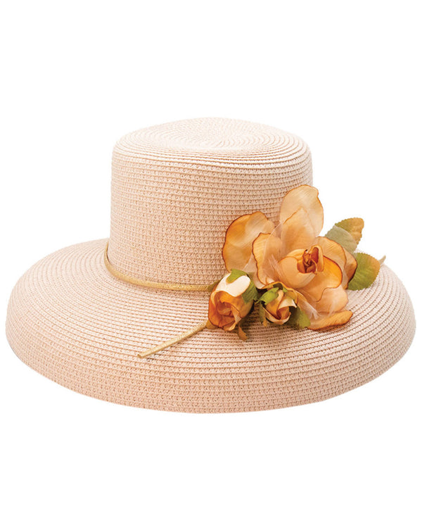 Mauve Boater Shape Flower Trim Hat