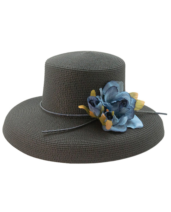 Black Boater Shape Flower Trim Hat