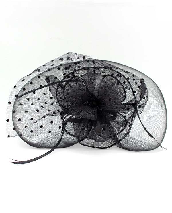 Black Feather and Mesh Fascinator