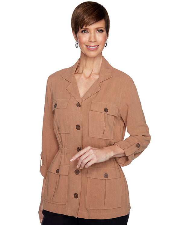 RTTN Ruby Rd 57931 Slub Jacket with Pockets Petite