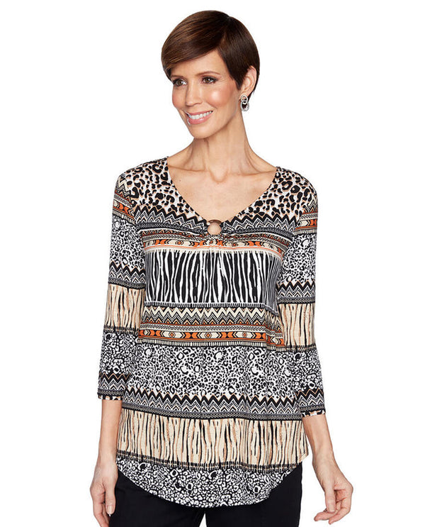 Ruby Rd 57450 Mixed Animal Stripe V Neck