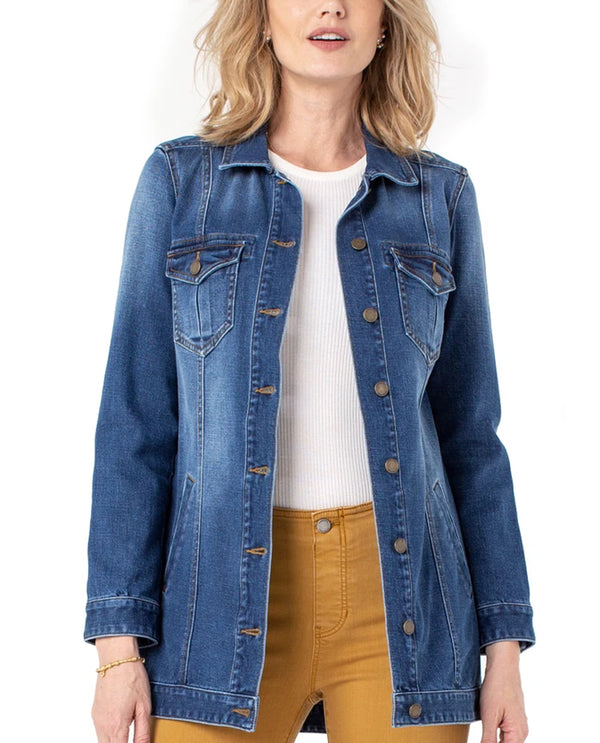Liverpool LM1163SS8 Hi-Lo Shirt Jacket Pomona Denim