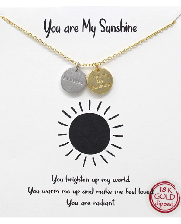 You Are My Sunshine Necklace BJNA451 GOLD