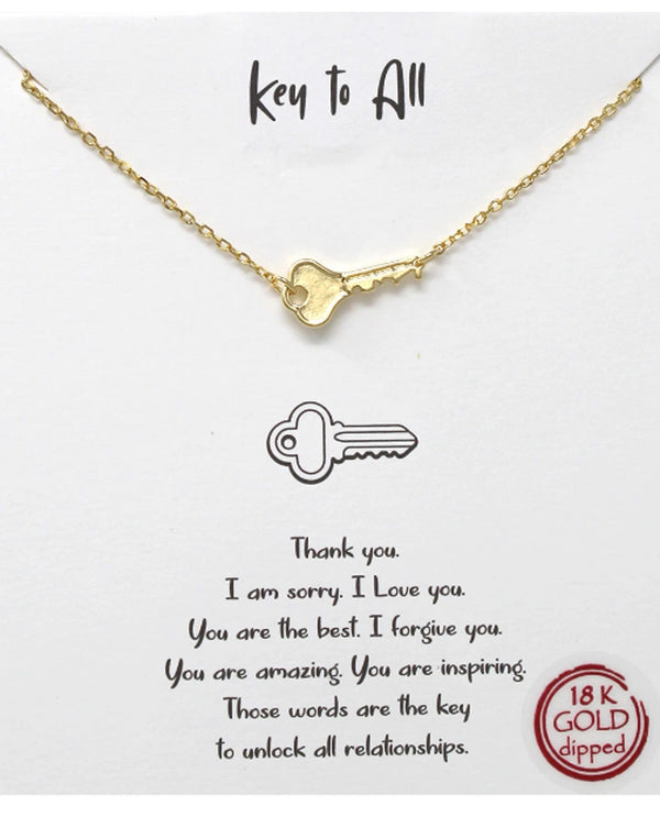Key To It All Necklace BJNA097 GOLD