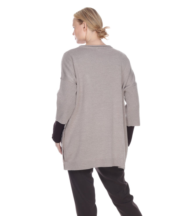 Terra T9052 Oversized Sweater With Pockets Taupe