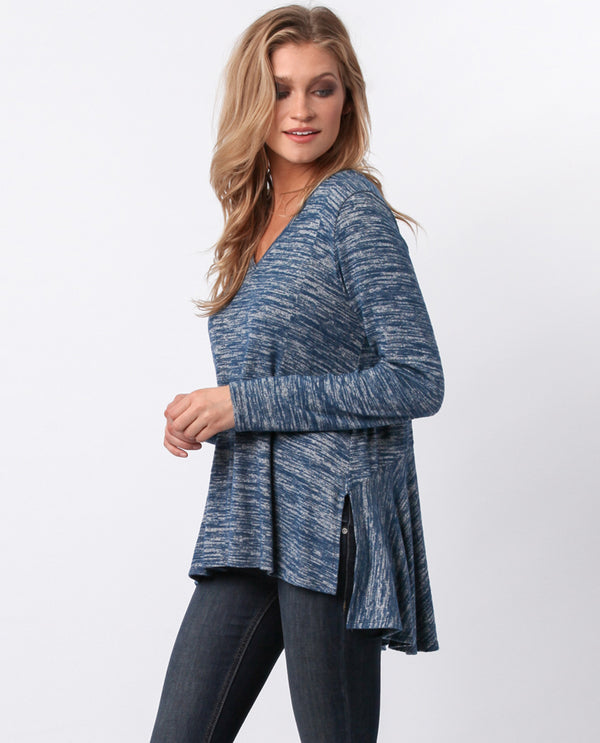 Sinuous ST2359 Print Tunic With Flounce Back Steelblue