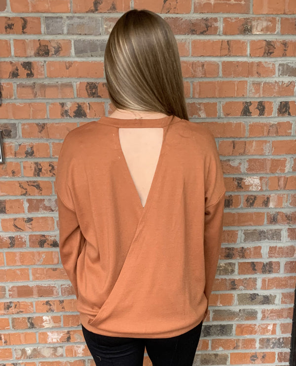 Sinuous STM698 Long Sleeve Cross Back Top