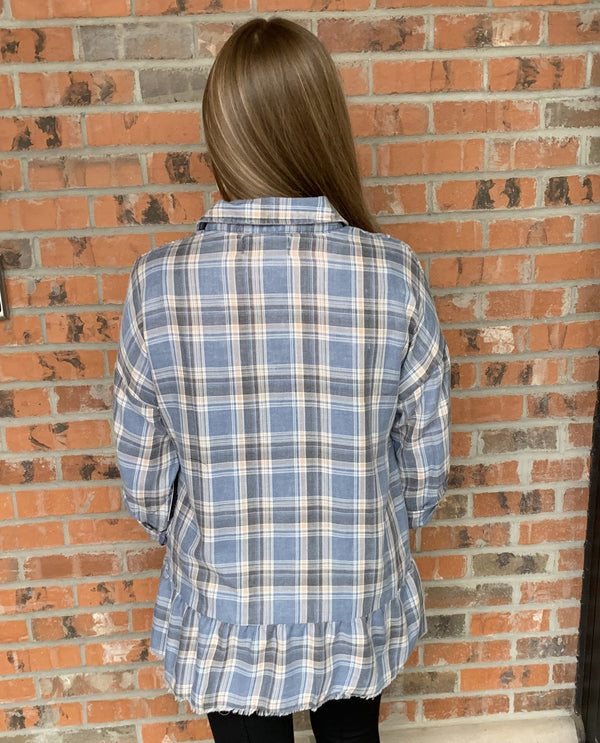 Sinuous STM562 Blue Plaid Peplum