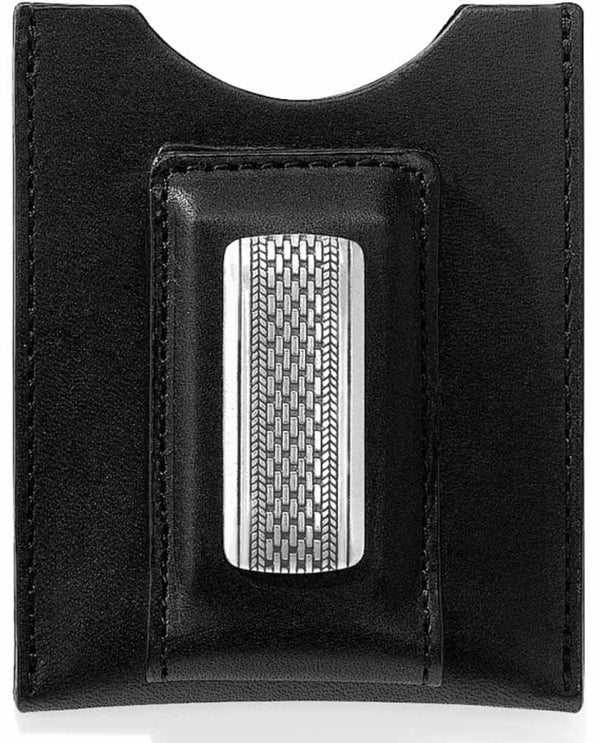Black leather Brighton M1103 Salina Money Clip holds all of your cards and magnetic cash