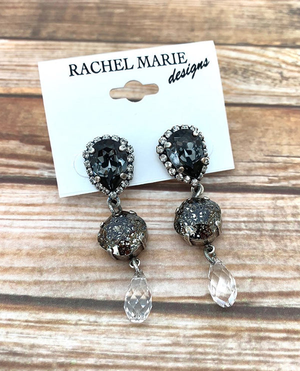 Rachel Marie Designs Halo Drop Earring Silver Night