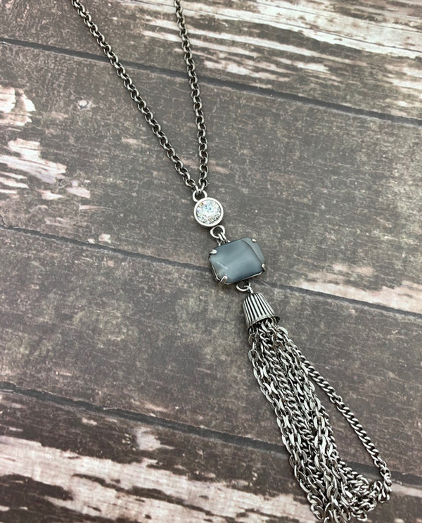 Rachel Marie Designs Crystal With Tassle Necklace Grey