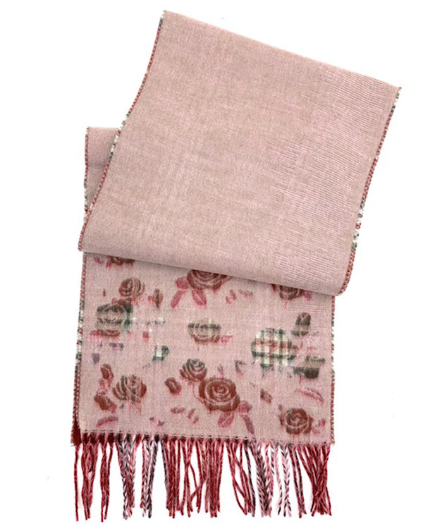 V Fraas Plaid Rose Scarf Burgundy