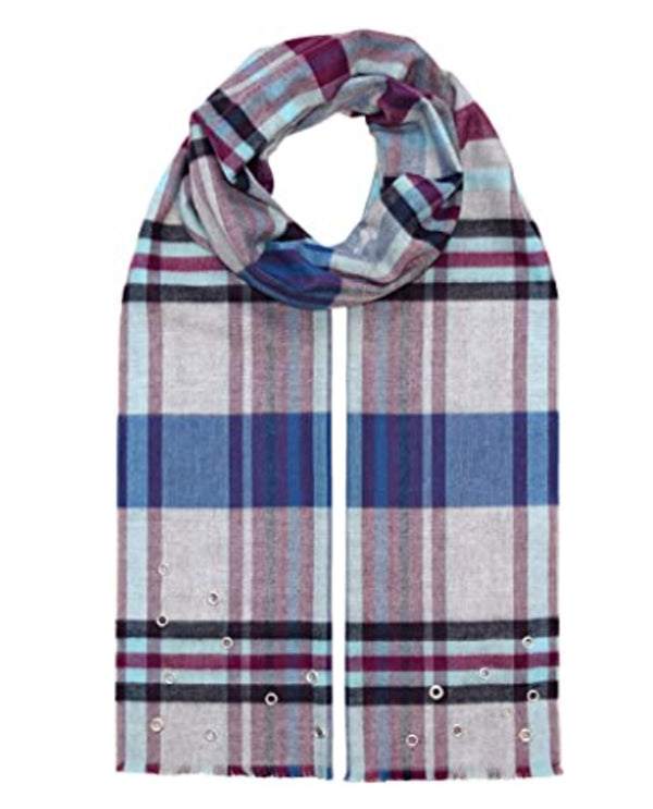 BLSV Fraas 492465 Plaid with Grommets Scarf