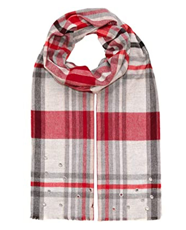 Black Red Fraas 492465 Plaid with Grommets Scarf