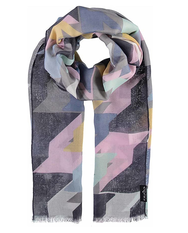 Fraas 625370 Abstract Houndstooth Scarf Grey