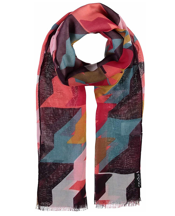 Fraas 625370 Abstract Houndstooth Scarf Coral
