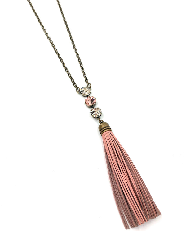 Rachel Marie Designs Leather Tassel & Crystal Necklace pink