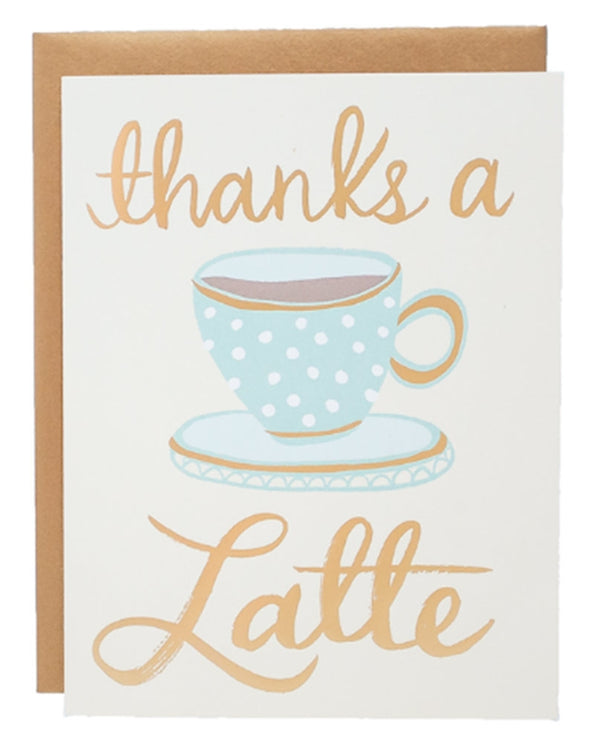 9th Letter Press TY539 Thanks A Latte Card