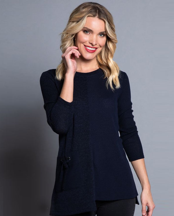Multiples M40611TM 1 Pocket Asymmetrical Scoop Neck Midnight Navy
