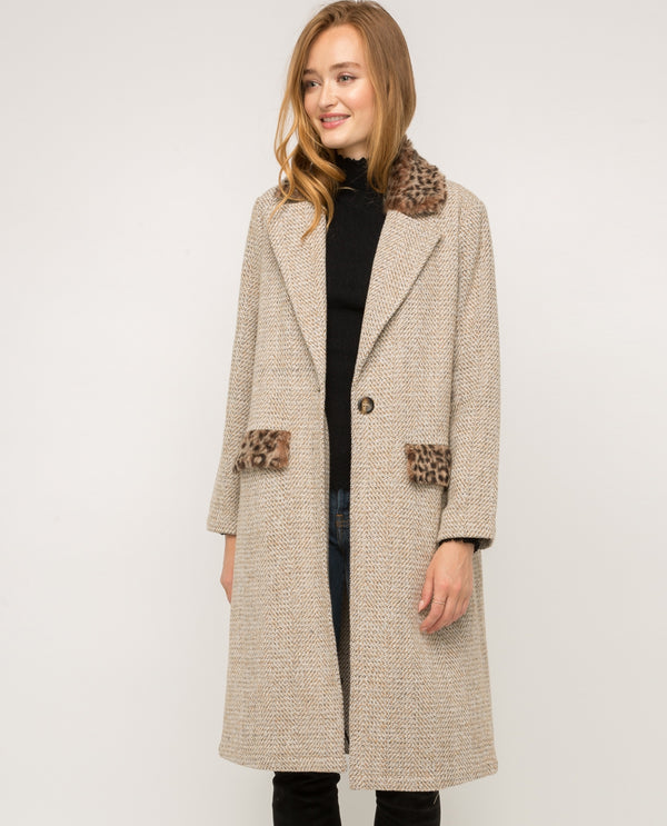 18516C Leopard Trim Duster Coat BRIV