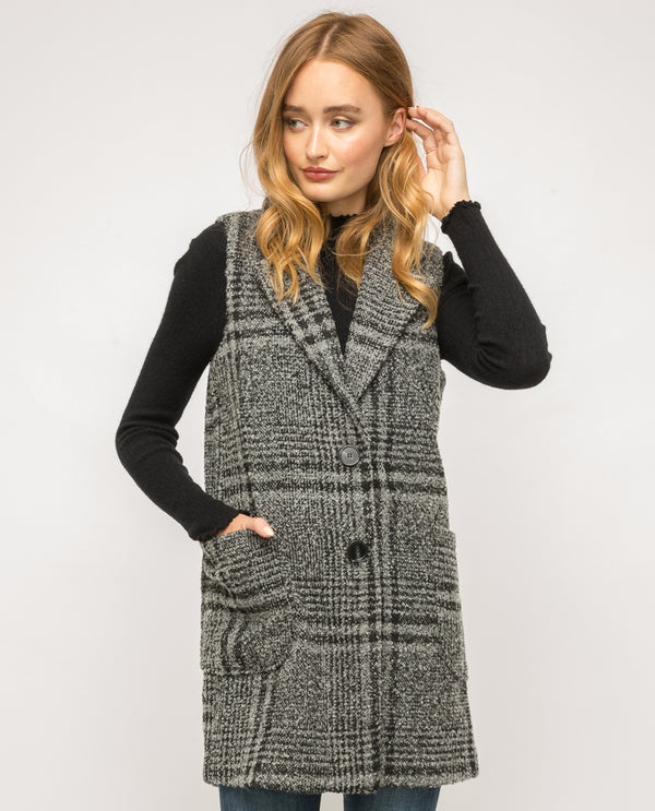 Black & Green Boucle Checkered Vest