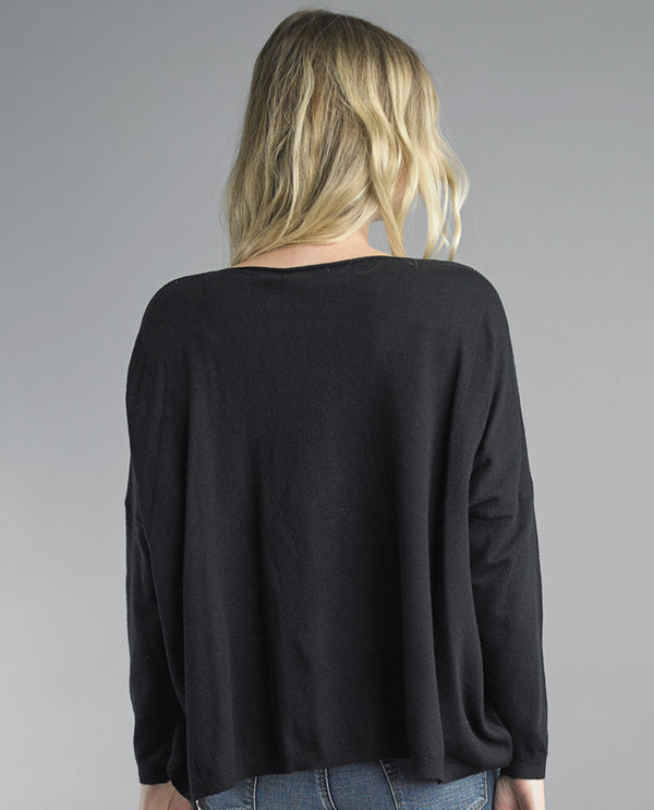 Long Sleeve Knit Slit Pocket Black