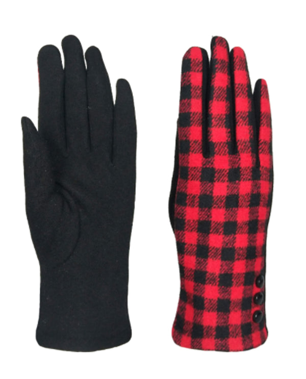 Buffalo Plaid Gloves Black Red