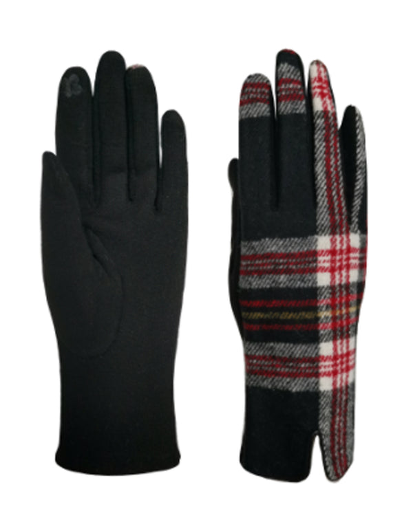 Plaid Gloves Black Red