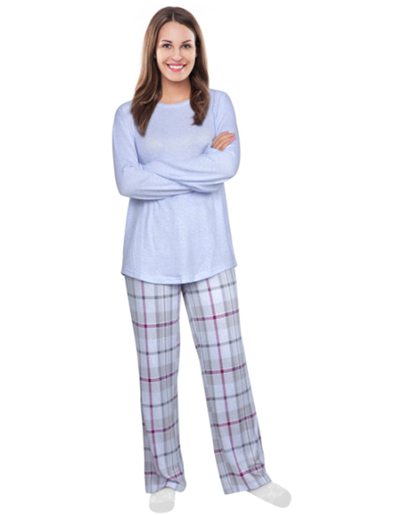 Lana 2 Pc Solid Pajamas LIGHT BLUE