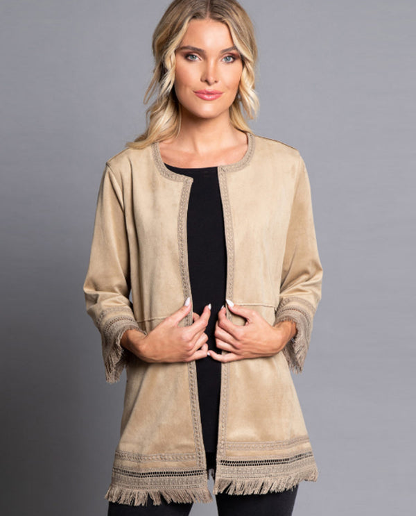 Multiples M11514JW Lace Trim Faux Suede Jacket KHAKI
