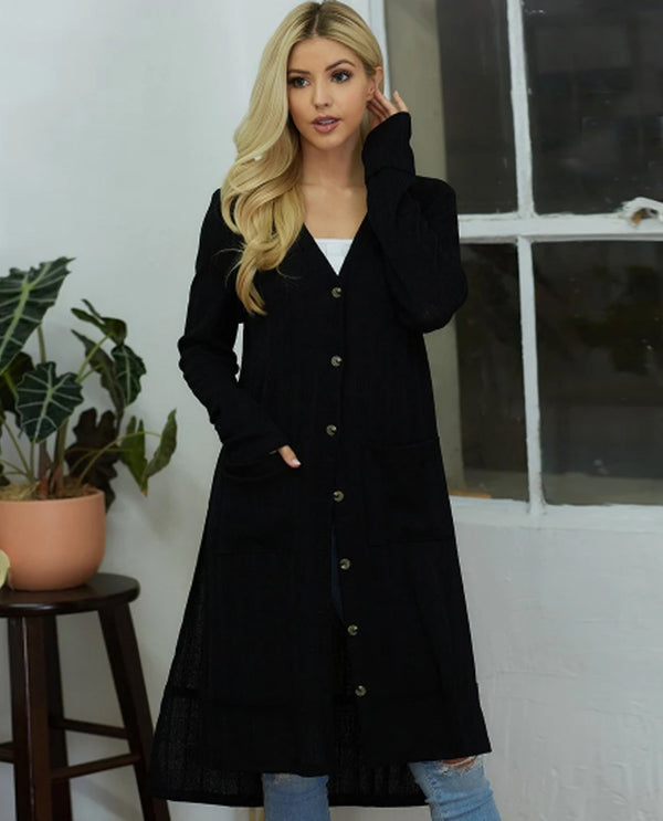 Long Button Side Slit Cardigan Black