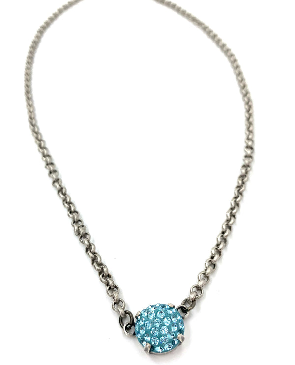 Rachel Marie Designs Pave Pendant Necklace Aqua