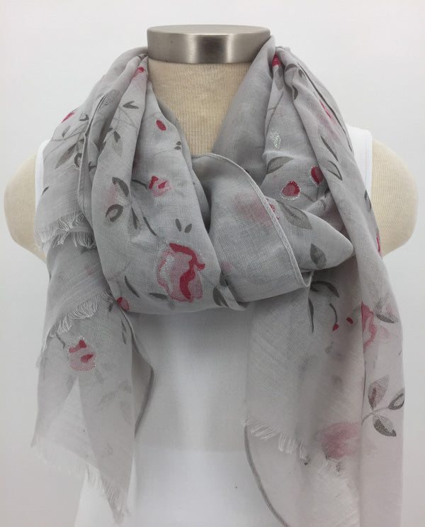 Grey Glitter Flower Scarf