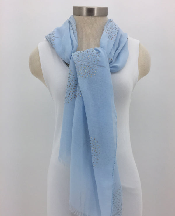 Light Blue Glitter Tree Scarf with Fringe