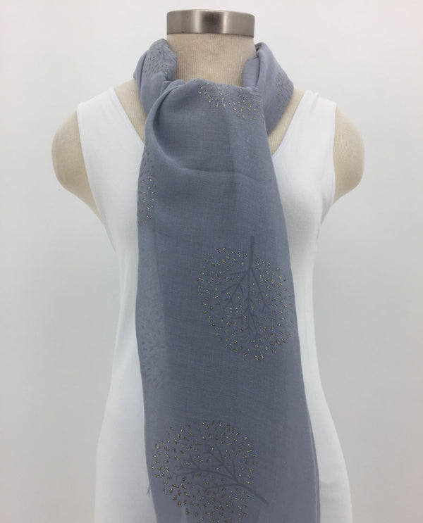 Grey Glitter Tree Scarf with Fringe