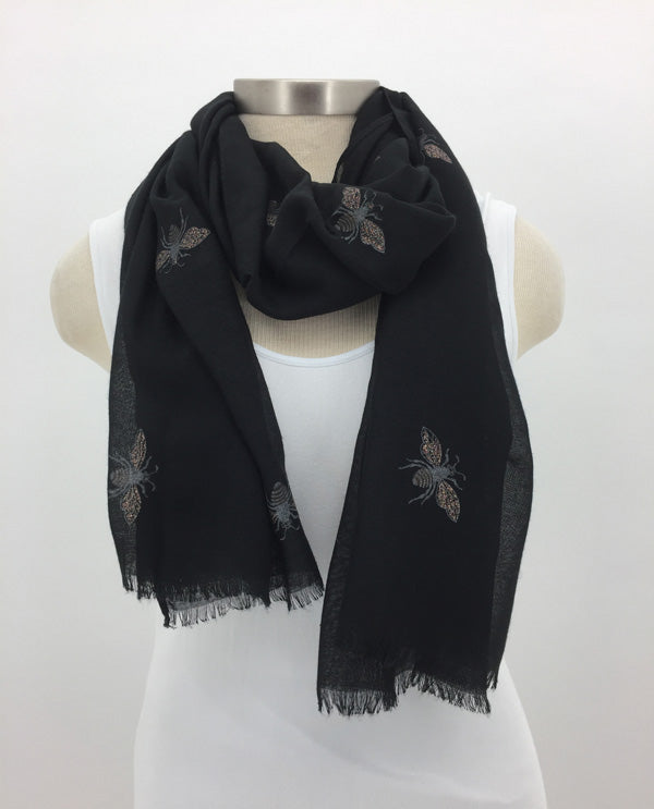 Black Glitter Bee Scarf
