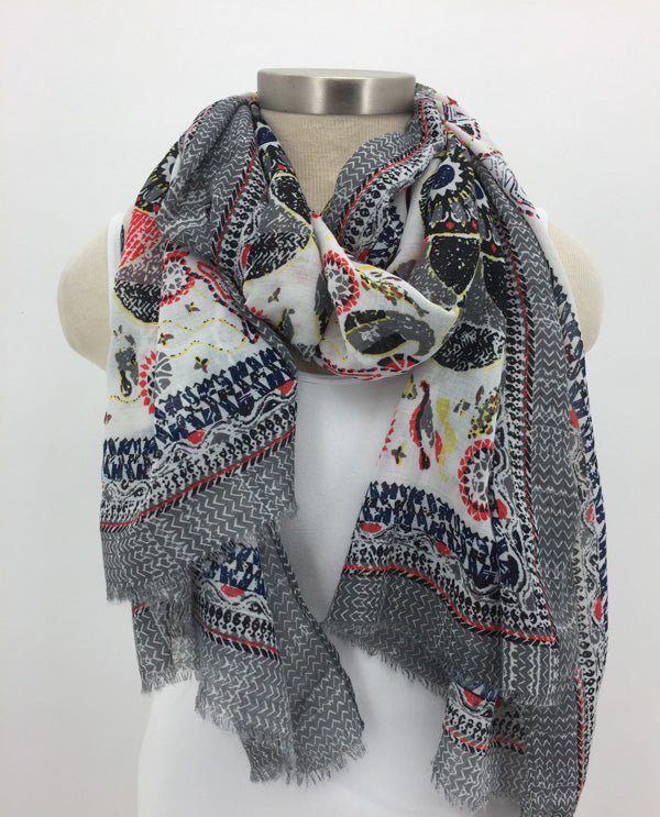 Grey Border Scarf with Fringe