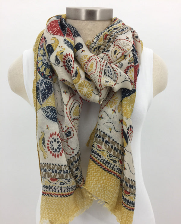 Gold Border Scarf with Fringe