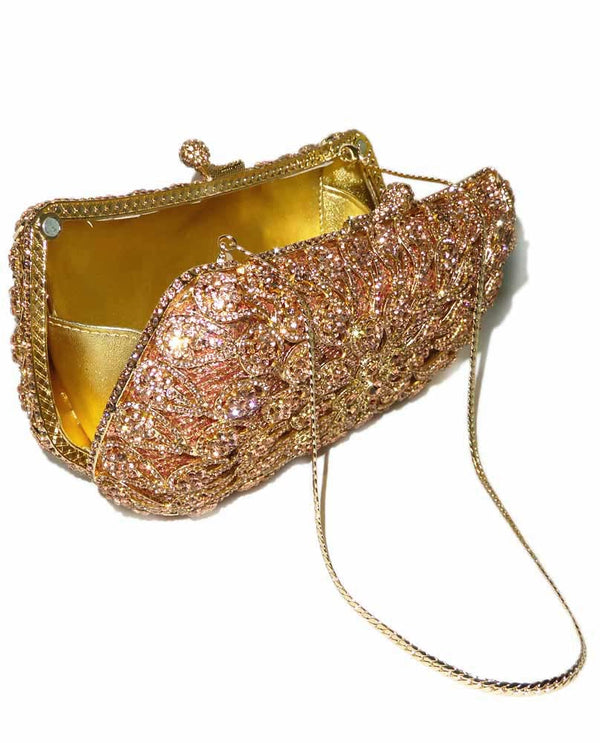 Champagne Rhinestone Minaudière Evening Bag