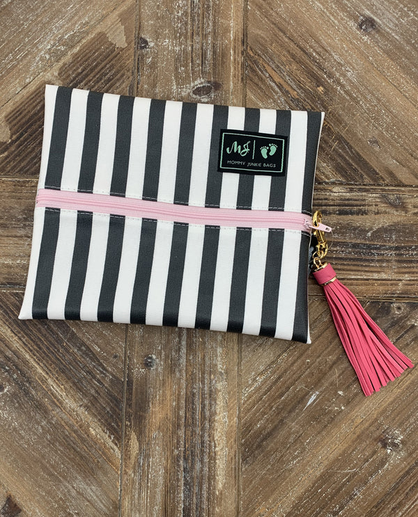 Makeup Junkie Bags Glam Stripe Small Makeup Bag- MOJGSP2