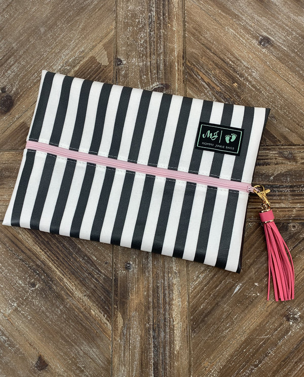 Makeup Junkie Bags Glam Stripe Medium Makeup Bag- MOJGSP3