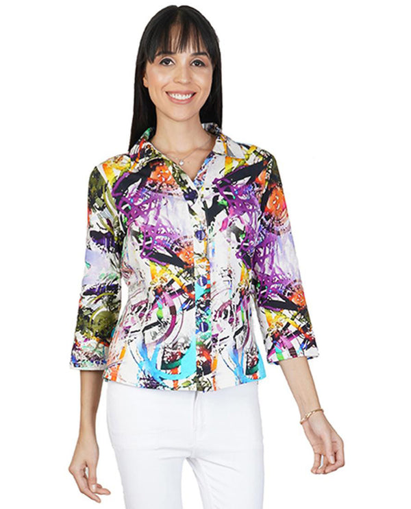 Parsley & Sage 21T47E24 Womens Carmen Print Jacket