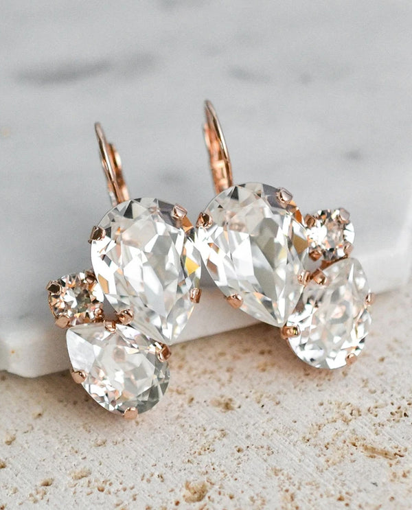Rachel Marie Designs Rose Gold Charmaine Earrings Clear