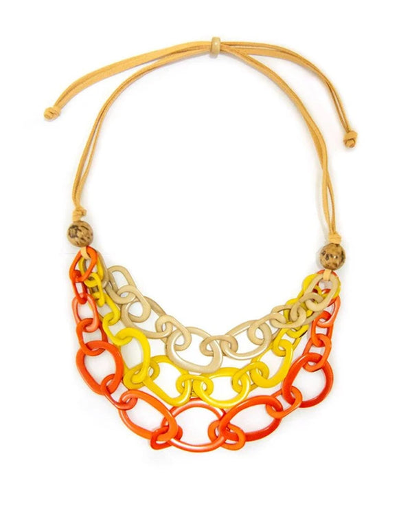 Tagua LC006-PC-AM-CF Diana Necklace Coral & Yellow