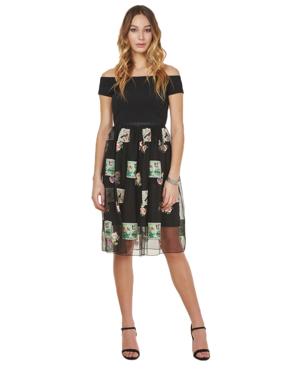 Forest Lily FL055L-1963 Stamp Pattern Dress