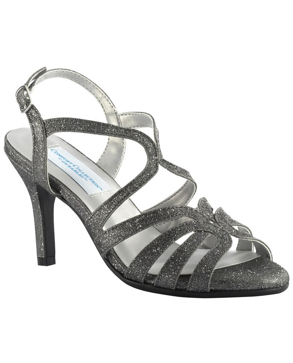 Dyeables PAISLEY Strappy Sparkle Shoe pewter glittery heel strappy sandals