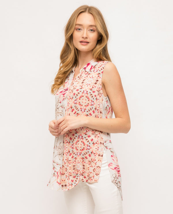 Mystree Sleeveless Print Mix Shirt 18987Q