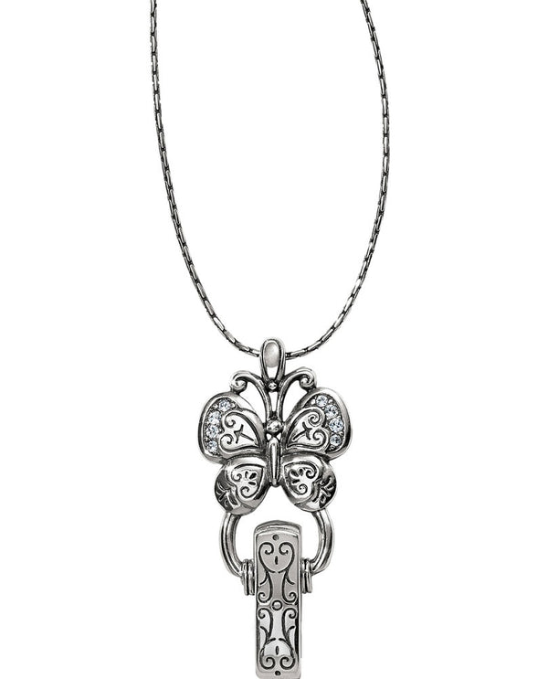 Brighton JL7820 Butterfly Badge Clip silver butterfly Id holder necklace