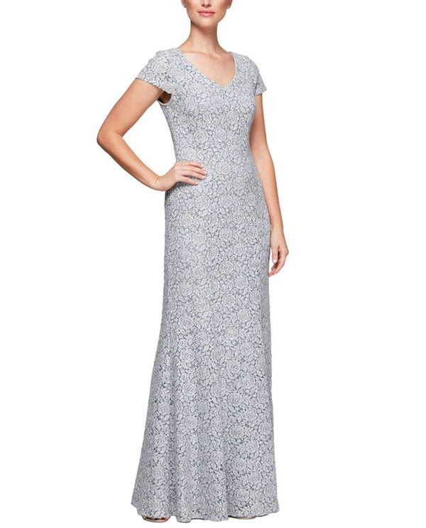 Black & white Alex Evenings 1122063 Lace Fit & Flare light grey floral lace long dress