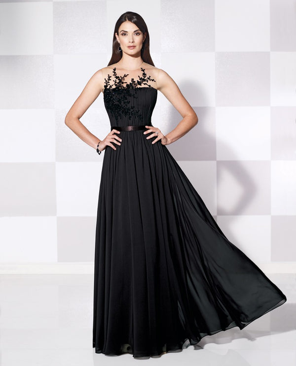 Cameron Blake 11560 Sleeveless Bead Bodice black sleeveless mother of the bride gown with belt